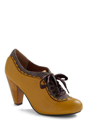 About the Benjamins Heel in Goldenrod by Poetic License - Yellow, Brown, Houndstooth, Scallops, Party, Casual, 20s, Best Seller