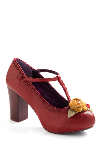 To Grandmother's House We Toe Heel by Poetic License - Red, Yellow, Green, Solid, Beads, Flower, Party, Casual, Vintage Inspired, 20s, 30s, 40s