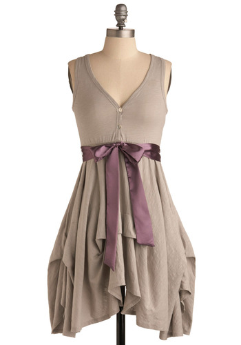 Craft Party Dress in Light Grey - Grey, Purple, Solid, Bows, Buttons, Ruffles, Casual, A-line, Empire, Tank top (2 thick straps), Spring, Summer, Long