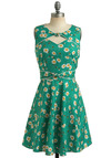 Good Ol' Daisy Dress by Trollied Dolly - Green, Multi, Yellow, White, Polka Dots, Floral, Bows, Cutout, Trim, Casual, Vintage Inspired, A-line, Sleeveless, Spring, Summer, Show On Featured Sale, Mid-length, Print, Fit & Flare, International Designer, Graduation