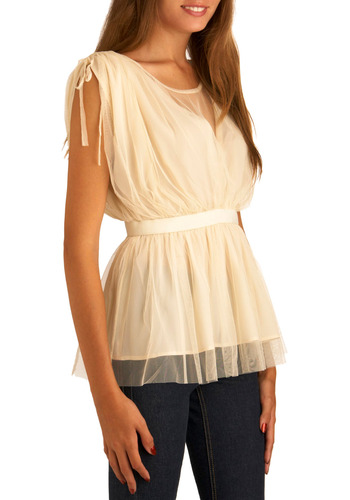 Gauze A Stir Top - Cream, Solid, Bows, Party, Work, Casual, Sleeveless, Spring, Summer, Mid-length