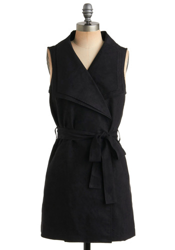 The Vest of the Best - Black, Solid, Bows, Pockets, Casual, Sleeveless, Long