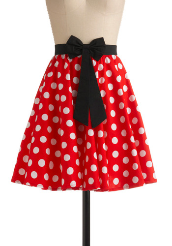 So Animated Skirt - Red, Black, White, Polka Dots, Bows, Pockets, Casual, A-line, Print, Mid-length, Rockabilly