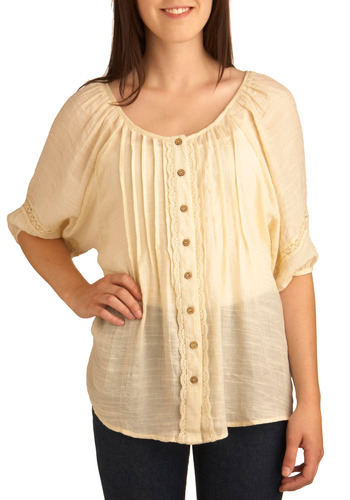 All Join In Top - Cream, Solid, Buttons, Lace, Casual, Boho, 3/4 Sleeve, Spring, Summer, Mid-length, Scoop