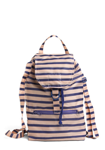 Day at the River Backpack by Baggu - Cream, Blue, Stripes, Exposed zipper, Casual, Spring, Summer, Eco-Friendly, Work, Scholastic/Collegiate