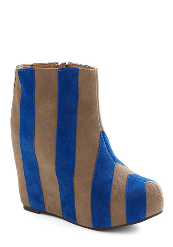 Sidelines Bootie by Jeffrey Campbell - Blue, Tan, Stripes, Exposed zipper, Casual, Statement, Vintage Inspired, 60s, Wedge