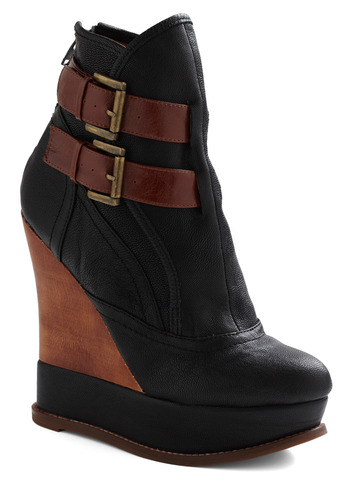 Double Step Bootie by Jeffrey Campbell - Black, Brown, Buckles, Casual