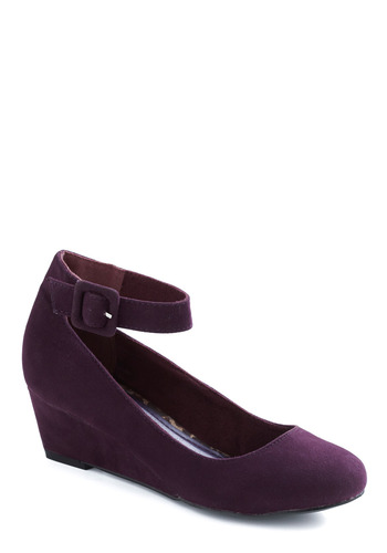 Plum as You Are Wedge - Purple, Solid, Buckles, Party, Casual, Wedge
