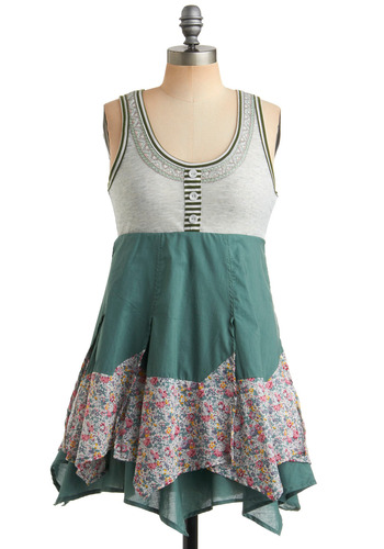 Traipsing in the Meadow Dress - Green, Multi, Solid, Floral, Buttons, Trim, Casual, A-line, Empire, Twofer, Tank top (2 thick straps), Spring, Summer, Boho, Mid-length
