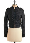 Re-belle with a Cause Jacket - Black, Solid, Buckles, Epaulets, Exposed zipper, Casual, Long Sleeve, Fall, Winter, Short, 2