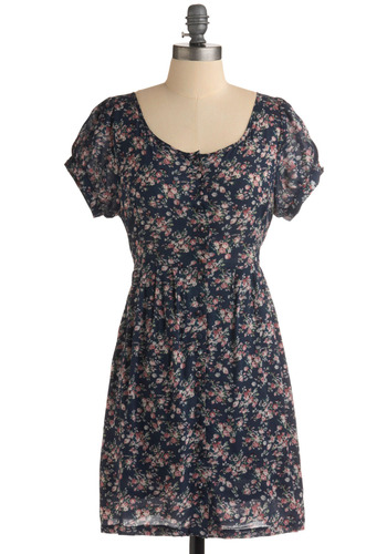 Keep Smiling Dress - Blue, Green, Pink, Floral, Buttons, Pleats, Casual, A-line, Short Sleeves, Mid-length