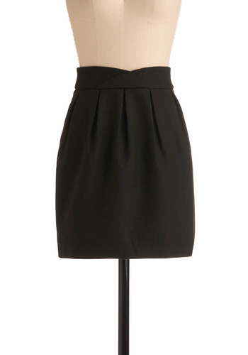 Sophisticated Staple Skirt - Green, Solid, Pleats, Casual, Mini, Sheath / Shift, Black, Short