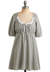 Pastoral, Present, and Future Dress - Cream, Grey, Stripes, Bows, Ruffles, Trim, Casual, A-line, Empire, Short Sleeves, Spring, Summer, Short