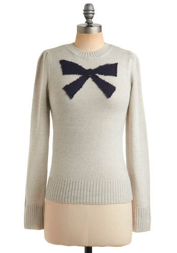 Little Bow Blue Sweater - Cream, Blue, Novelty Print, Knitted, Casual, Vintage Inspired, Long Sleeve, Fall, Winter, Bows, Mid-length