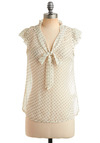 If You Dot It Top - Cream, Grey, Polka Dots, Bows, Ruffles, Casual, Cap Sleeves, Spring, Summer, Mid-length