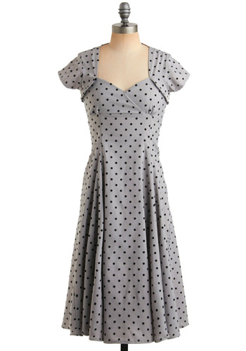Flocked to Me Dress - Grey, Black, Polka Dots, Casual, A-line, Cap Sleeves, Rockabilly, Pinup, Vintage Inspired, 40s, 50s, Long