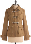 Toggle at My Heart Jacket by Tulle Clothing - Tan, Solid, Buttons, Pockets, Work, Casual, Long Sleeve, Fall, Winter, Mid-length, 3