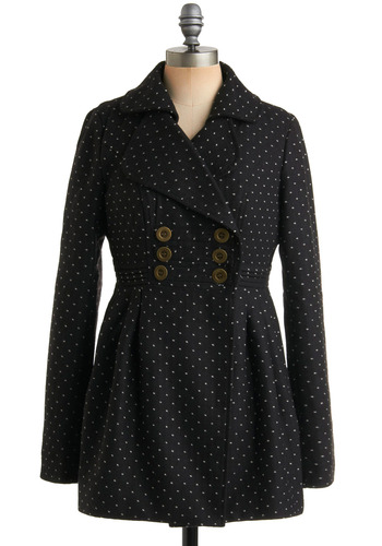 First Flurry Coat by Tulle Clothing - Black, White, Polka Dots, Buttons, Pleats, Pockets, Party, Work, Casual, Long Sleeve, Fall, Winter, Long