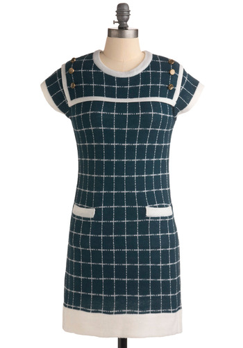 Three Square Teals Dress by Tulle Clothing - Green, Blue, White, Checkered / Gingham, Buttons, Pockets, Casual, Sheath / Shift, Cap Sleeves, Sweater Dress, Vintage Inspired, 60s, Mid-length