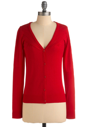 Pointelle-ism Cardigan by Tulle Clothing - Red, Solid, Buttons, Party, Work, Casual, Long Sleeve, Mid-length