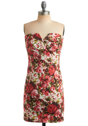 Tapestry Dance Dress - Multi, Pink, Floral, Party, Casual, Strapless, Mid-length, Bodycon / Bandage, Brown, Tan / Cream