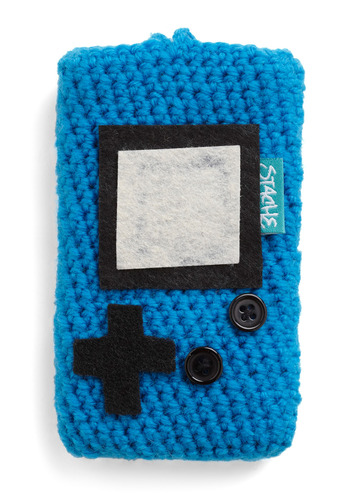 Blue High Score Media Case - Blue, Black, Grey, Knitted, Handmade & DIY, 80s