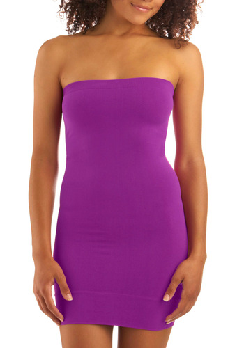 Stylish Silhouette Tube Dress in Plum - Purple, Solid, Mini, Shift, Strapless, Seamless
