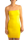 Stylish Silhouette Tube Dress in Banana - Yellow, Solid, Party, Casual, Sheath / Shift, Strapless, Seamless