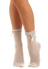Hard Cordial Socks - White, Black, Polka Dots, Bows, Casual, Knitted