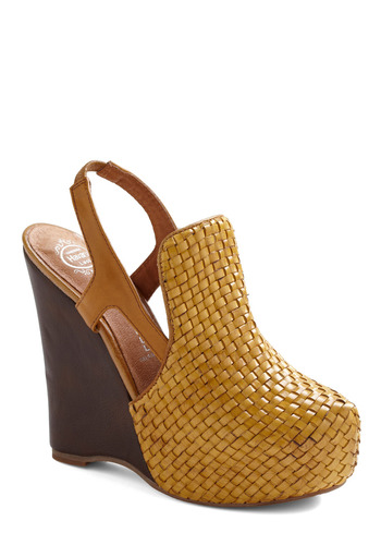 Hello, Yellow Brick Road Wedge by Jeffrey Campbell - Yellow, Cutout, Woven, Party, Casual, Spring, Summer, Wedge