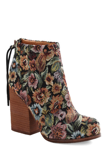 Girl of the Hour Bootie by Jeffrey Campbell - Multi, Orange, Green, Blue, Pink, Floral, Tassles, Casual, Black, Vintage Inspired, 70s