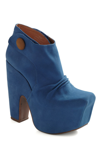 Platform and Substance Bootie by Jeffrey Campbell - Blue, Buttons, Casual, Luxe, Statement