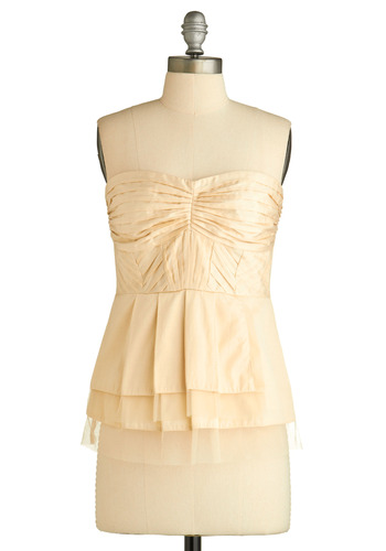 Cream Pouf Top - Cream, Exposed zipper, Pleats, Tiered, Party, Casual, Strapless, Press Placement, Mid-length, Exclusives