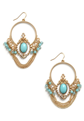 She Wore Blue Earrings - Gold, Blue, Beads, Chain, Formal, Prom, Wedding, Party, Casual, Statement, Pastel