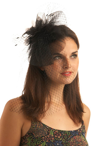 Topped with Glamour Headband - Black, Feathers, Lace, Special Occasion, Wedding, Party, Vintage Inspired, 20s