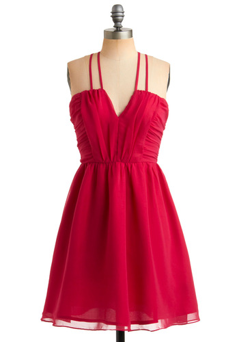 Raspberry Macaron Dress - Pink, Solid, Cutout, Party, A-line, Spaghetti Straps, Short