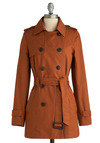 Haute-umn Leaves Coat - Orange, Solid, Buckles, Buttons, Epaulets, Pockets, Work, Casual, Long Sleeve, Fall, Long, Military, 1.5