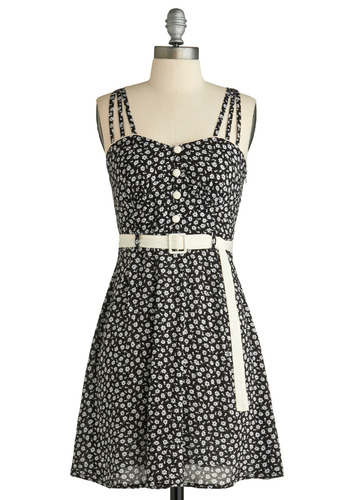 Monochrome Grown Dress - White, Floral, Buckles, Buttons, Trim, Casual, A-line, Spaghetti Straps, Tank top (2 thick straps), Racerback, Spring, Summer, Black, Mid-length