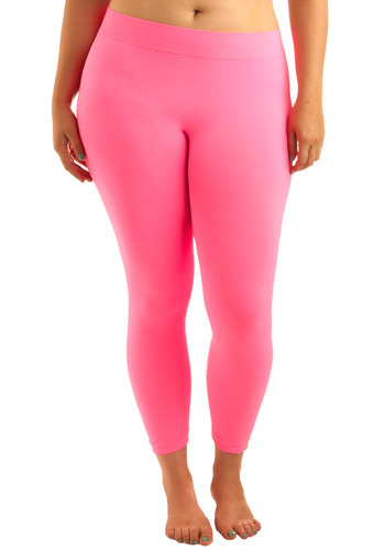 Perfect Pairing Leggings in Neon Pink - Plus Size - Pink, Solid, Casual