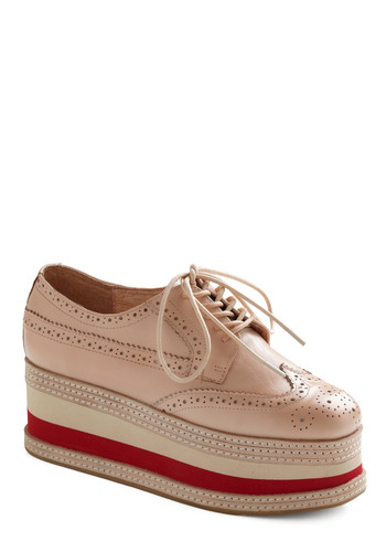 Go for Brogue Platform by Jeffrey Campbell - Tan, Red, Casual, Vintage Inspired, 90s, Statement, Wedge