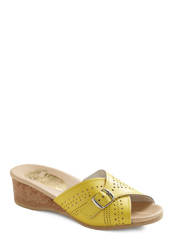 Surf and Perf Sandal by Wörishofer - Yellow, Buckles, Casual, Spring, Summer, Boho, Vintage Inspired, 70s