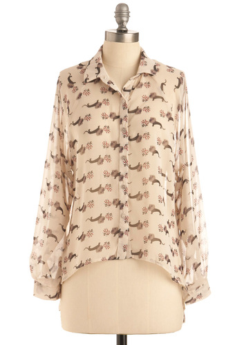 Meg Lion Top - Cream, Red, Brown, Print with Animals, Novelty Print, Buttons, Casual, Long Sleeve, Mid-length