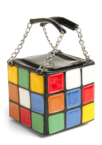 The Gleaming Cube Handbag - Multi, Red, Yellow, Green, Blue, White, Chain, Party, Casual, Vintage Inspired, 80s, Statement, Black