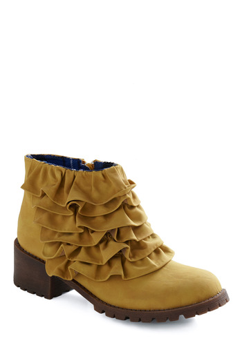 Have It Ruffle Boot - Yellow, Solid, Ruffles, Tiered, Casual