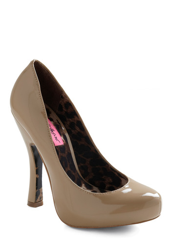 Betsey Johnson Glossy Glamour Heel by Betsey Johnson - Tan, Solid, Formal, Prom, Wedding, Party, Work