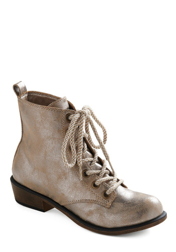 Let's Get Bold Fashioned Boot - Tan, Silver, Solid, Casual