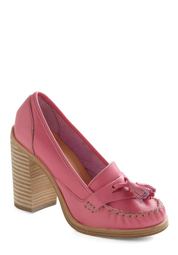 Shoes Wisely Heel by Swedish Hasbeens - Pink, Tassles, Party, Work, Casual, Menswear Inspired, Eco-Friendly, Pastel, Leather, High, Tis the Season Sale, International Designer