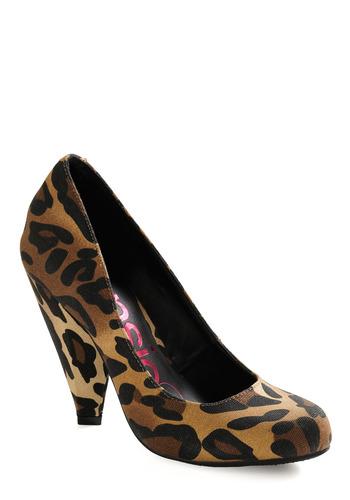 Here Kitty Kitty Heel - Brown, Tan, Black, Animal Print, Party, Work, Casual