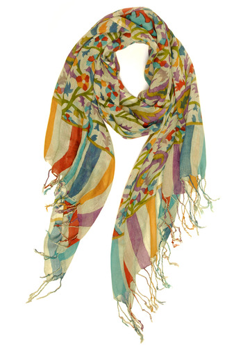 Garden Treasure Scarf - Multi, Red, Yellow, Green, Blue, Purple, Grey, Stripes, Floral, Fringed, Tassels, Casual, Boho, Spring, Summer