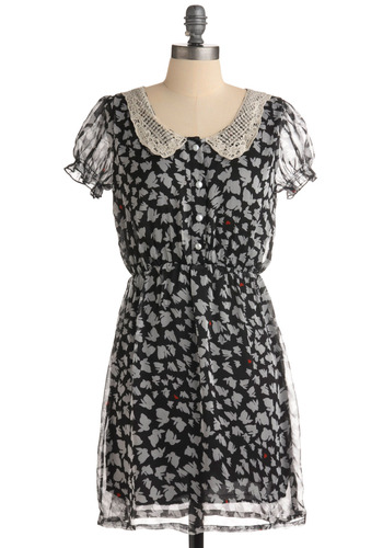 A Bunny Thing Happened Dress - Print with Animals, Novelty Print, Buttons, Cutout, Lace, Pearls, Peter Pan Collar, Casual, A-line, Short Sleeves, Spring, Summer, Shirt Dress, Black, Grey, Mid-length